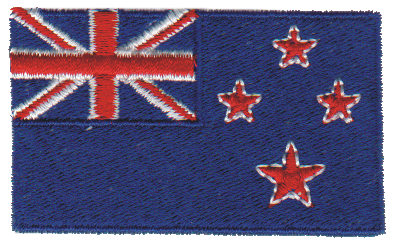 """Embroidery Design: New Zealand2.53"""" x 1.51"""""""