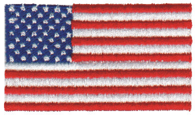 """Embroidery Design: United States of America2.52"""" x 1.50"""""""