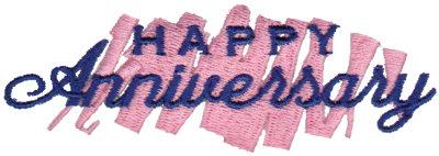 """Embroidery Design: Happy Anniversary - Brush Stroke3.90"""" x 1.30"""""""