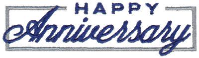 "Embroidery Design: Happy Anniversary3.87"" x 1.06"""
