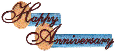 "Embroidery Design: Happy Anniversary - Ovals & Blocks4.09"" x 1.79"""