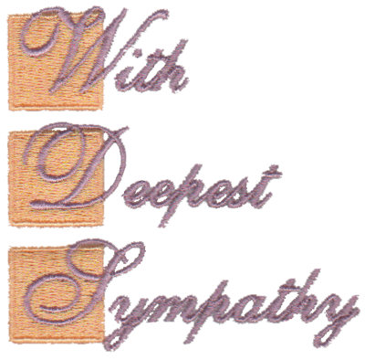 """Embroidery Design: With Deepest Sympathy3.11"""" x 3.04"""""""