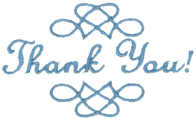 """Embroidery Design: Thank You - Scrollwork3.75"""" x 2.24"""""""