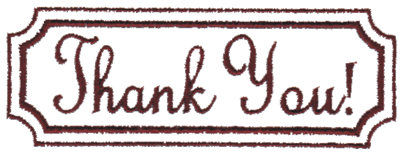 """Embroidery Design: Thank You in Box3.77"""" x 1.35"""""""
