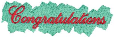 """Embroidery Design: Congratulations3.70"""" x 1.13"""""""