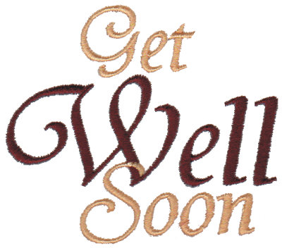 """Embroidery Design: Get Well Soon - Script3.22"""" x 2.80"""""""