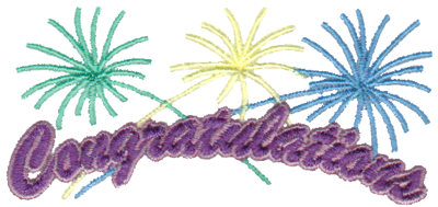 """Embroidery Design: Congratulations - Fireworks3.76"""" x 1.74"""""""