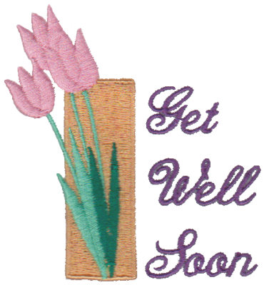 """Embroidery Design: Get Well Soon - Flower2.85"""" x 3.04"""""""
