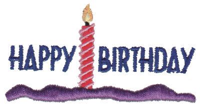 """Embroidery Design: Happy Birthday - Candle2.88"""" x 1.51"""""""