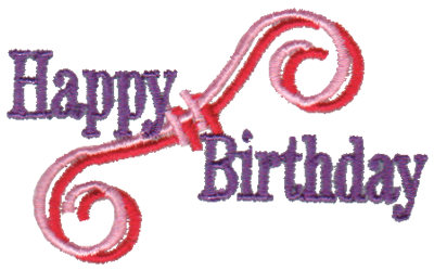 "Embroidery Design: Happy Birthday - Swirl2.89"" x 1.79"""
