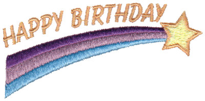 "Embroidery Design: Happy Birthday - Shooting Star3.49"" x 1.72"""