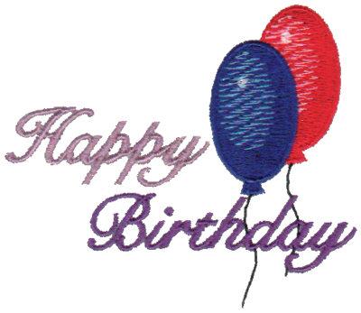 "Embroidery Design: Happy Birthday - Balloons3.19"" x 2.72"""