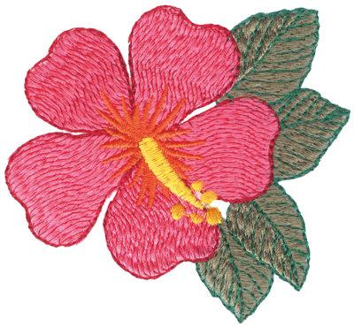 """Embroidery Design: Fuscia Hibiscus3.81"""" x 3.48"""""""