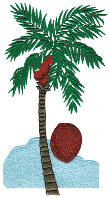 "Embroidery Design: Palm Tree3.71"" x 6.76"""