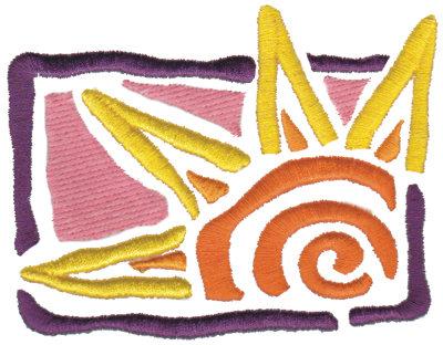 "Embroidery Design: Funky Sun4.20"" x 3.20"""