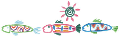 """Embroidery Design: Funky Fish Border8.28"""" x 2.49"""""""