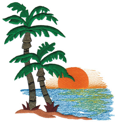 "Embroidery Design: Island Sunset6.14"" x 6.70"""