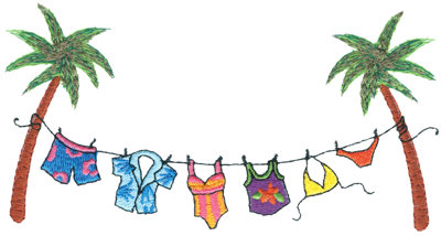 """Embroidery Design: Island Laundry Line6.46"""" x 3.31"""""""
