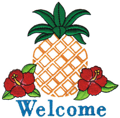 """Embroidery Design: Island Welcome4.08"""" x 4.05"""""""