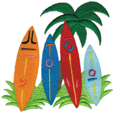 "Embroidery Design: Surfboards4.73"" x 4.65"""