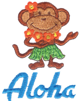 "Embroidery Design: Aloha Monkey2.69"" x 3.46"""