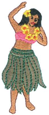 "Embroidery Design: Hula Dancer1.28"" x 3.00"""