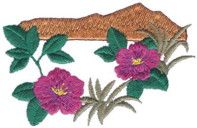 "Embroidery Design: Tropical Mountain Scene3.80"" x 2.47"""