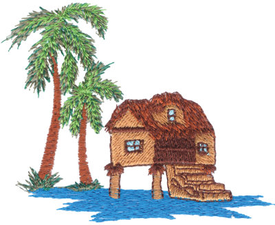 """Embroidery Design: Tropical Hut on Stilts3.80"""" x 2.97"""""""