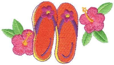 """Embroidery Design: Hibiscus & Sandals3.80"""" x 2.15"""""""
