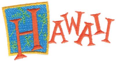 "Embroidery Design: Hawaii3.81"" x 2.07"""