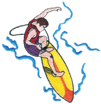 "Embroidery Design: Surfer3.70"" x 3.81"""