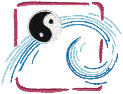 "Embroidery Design: Yin Yang Wave Symbol3.88"" x 3.00"""