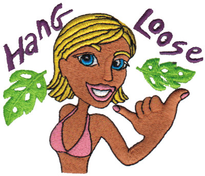 "Embroidery Design: Hang Loose - Surfer Girl4.24"" x 3.61"""