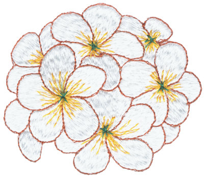 """Embroidery Design: Tropical Posy3.02"""" x 2.63"""""""