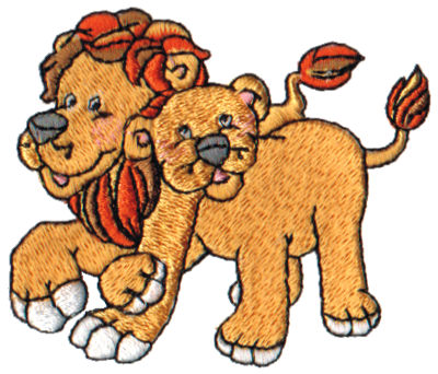 """Embroidery Design: Lion & Lioness2.84"""" x 2.42"""""""