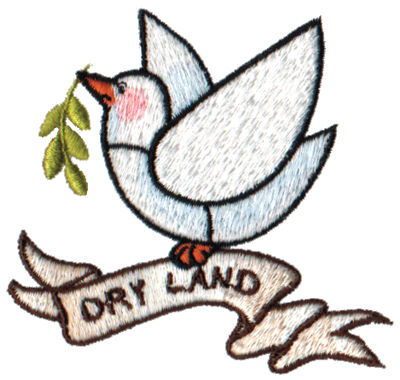 """Embroidery Design: Dry Land - Dove3.01"""" x 2.85"""""""
