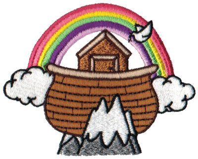 "Embroidery Design: Ark & Rainbow3.89"" x 3.05"""