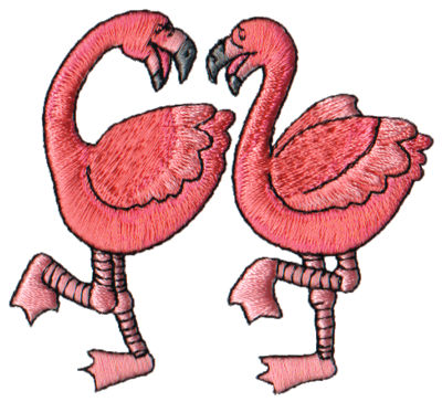 "Embroidery Design: 2 Flamingoes3.15"" x 2.85"""