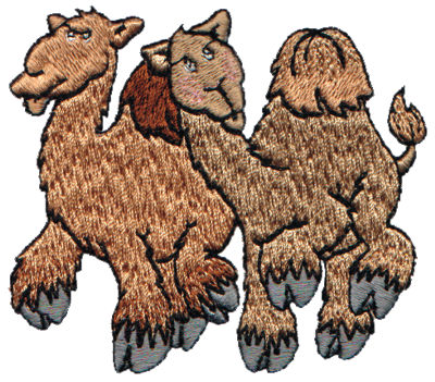 "Embroidery Design: 2 Camels3.17"" x 2.89"""