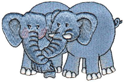 "Embroidery Design: 2 Elephants3.78"" x 2.54"""