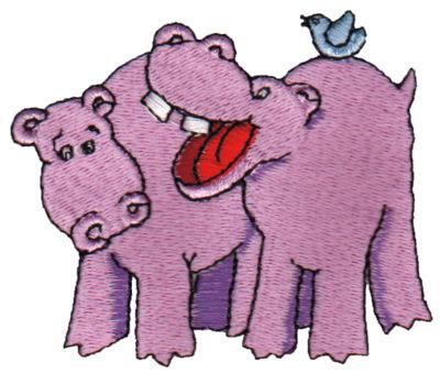 "Embroidery Design: Hippopotami3.12"" x 2.62"""