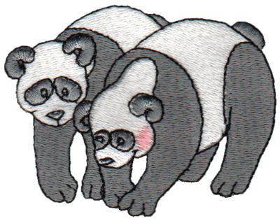 "Embroidery Design: 2 Pandas3.15"" x 2.45"""