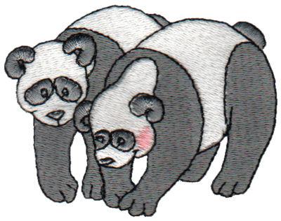 "Embroidery Design: 2 Pandas3.15"" x 2.45"""