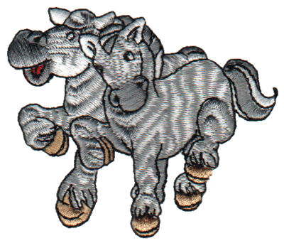 "Embroidery Design: 2 Zebras3.13"" x 2.68"""