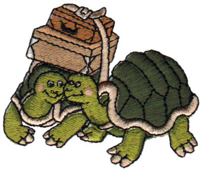 "Embroidery Design: 2 Turtles2.96"" x 2.40"""
