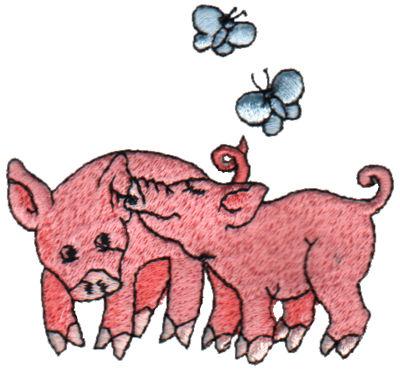 "Embroidery Design: 2 Piggies3.03"" x 2.86"""
