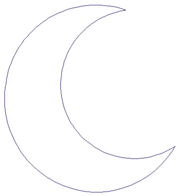 "Embroidery Design: Reverse App Crescent Moon4.49"" x 4.95"""