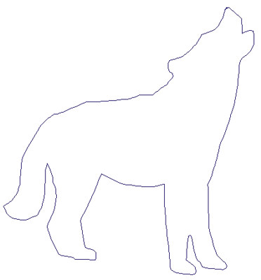"""Embroidery Design: Reverse App Wolf Howling4.79"""" x 5.12"""""""