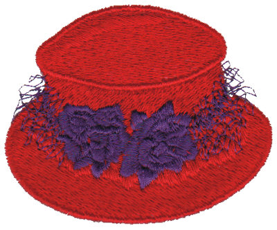 """Embroidery Design: Red Hat with Roses3.00"""" x 2.46"""""""