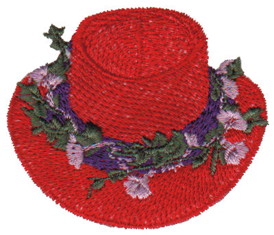 """Embroidery Design: Red Hat with Flowers2.75"""" x 2.33"""""""